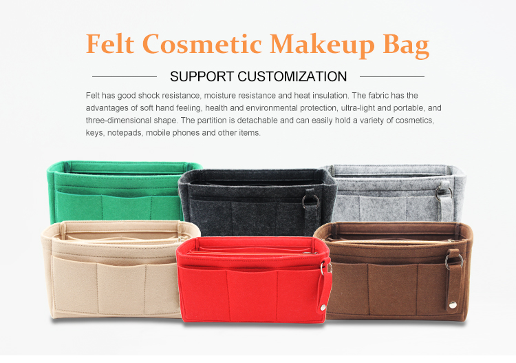 Felt Bag Organizer Insert Folding Cosmetic Bag Lowest Price Felt Insert Bag