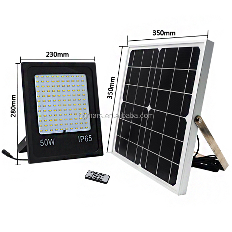 High lumen outdoor 50W solar LED <strong>flood</strong> light system with remote controller / solar led <strong>flood</strong> light system