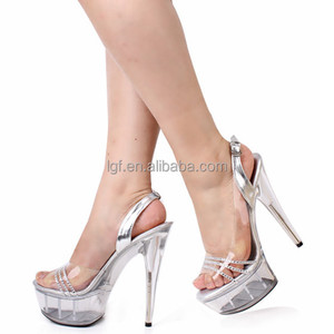 Stripper Shoes 17cm High-Heeled Shoes Lady Platform Crystal Sandals Low Price Sexy Clubbing 6 Inch High Heels