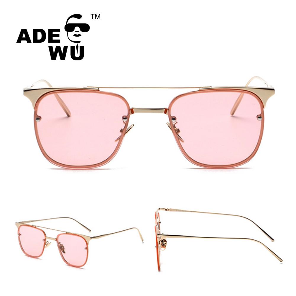35088f33d57f3 ADE WU Senhoras Da Moda Óculos De Sol Do Metal Óculos de Armação Dupla Viga  de