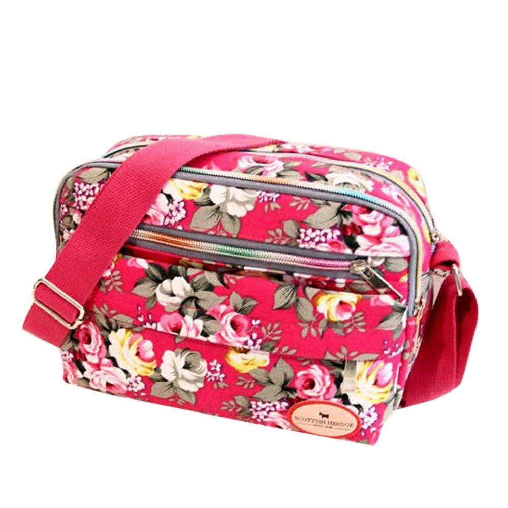 Fashion Women Printed Canvas Crossbody Bag,Outsta Shoulder Bag Messenger Bag Cosmetic Bag Purse Bag Classic Casual (Hot Pink)