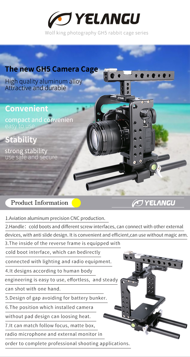 YELANGU New Professional GH4&GH5 Camera Cage Wonderful and Portable DSLR Protect Equipment
