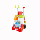 Kids educational pretend play plastic cleaning trolley toy set