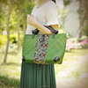 Handmade woven green straw bags cheap thailand straw beach bag for summer