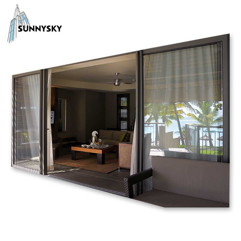 Exterior triple track waterproof aluminum sliding glass door with US & Japan standard