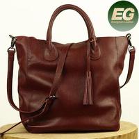 Latest fashion bags ladies big shopper leather bag 100% real soft leather handbags EMG4359