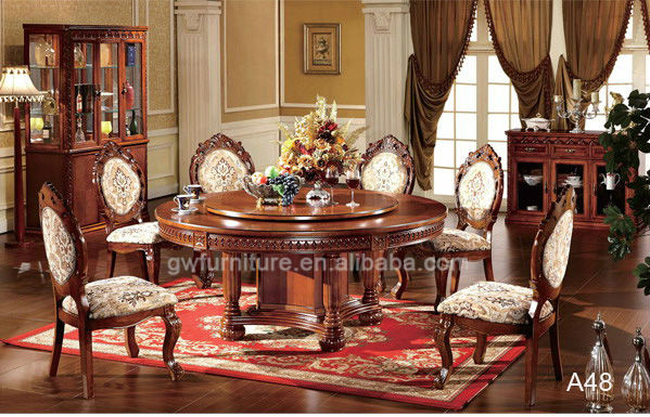 Venta al por mayor madera tallada mesas de comedor roble-Compre ...