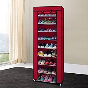 GOTOBUYWORLD Portable 10 Layer 9 Grid Shoe Rack Shelf Storage Closet Organizer Cabinet Wine Red