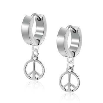 Fashion jeweley women men's stainless steel peace sign hoop earring for party gift anniversary