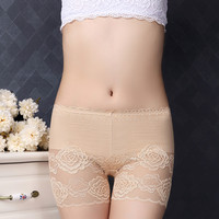 Fashion Flower Pattern Transparent Lace Boy Shorts Panties For Women