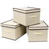 Set of 3 large foldable storage box with lid basket bin container rectangular storage bins