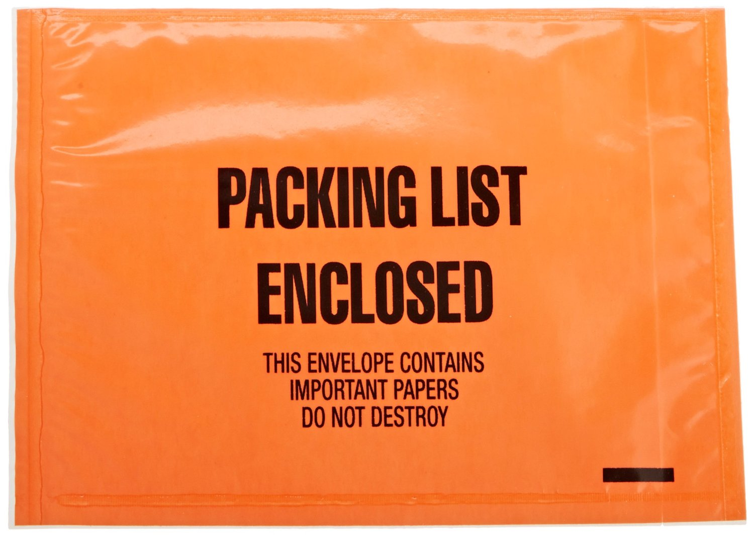 """Aviditi JMR10 Poly Military-Specification Envelope, Legend """"PACKING LIST ENCLOSED - THIS ENVELOPE CONTAINS IMPORTANT PAPERS DO NOT DESTROY"""", 4-1/2"""" Length x 6"""" Width, 2 mil Thick, Black on Orange (Case of 1000)"""