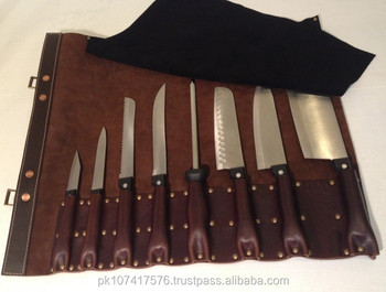 Hospitech Real Leather Chef Knife Roll Bag Hold 8 Knives