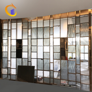 Perforated Glass Partition Screens Decorative Restaurant Metal Fixed Room Divider