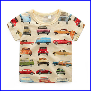 Bulk 3 d t shirt china export wholesale cotton kids printing with cars child t-shirt