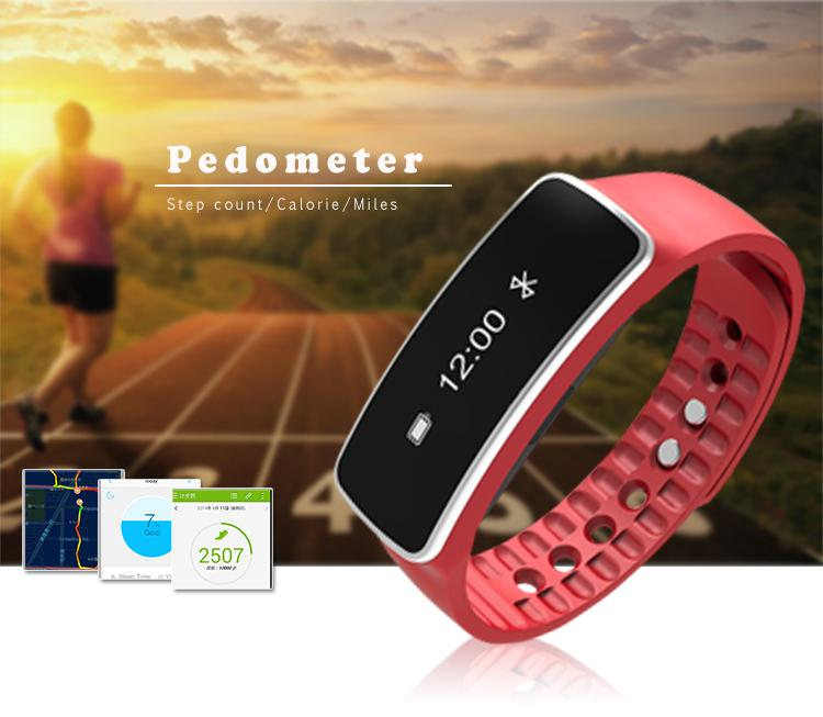 "2017 hot sales new calories tracker sleep monitor sport bluetooth band 0.86"" OLED smart watch with APP developer"
