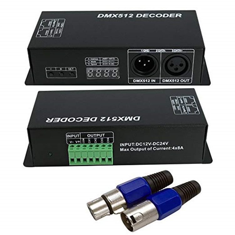 DMX 512 Digital Display Decoder, Dimming Driver DMX512 Controller for LED RGBW Tape Strip Light RJ45 Connection DC12-24V 20A