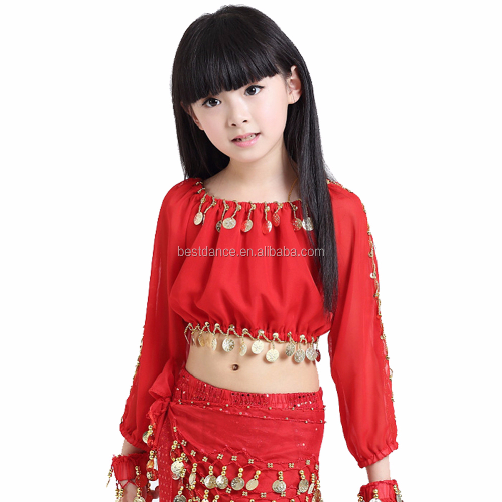 44be73bc96ef33 girl s KID s Children Belly Dance top dance Costume beads coins top Shining  chiffon latest Long sleeve top