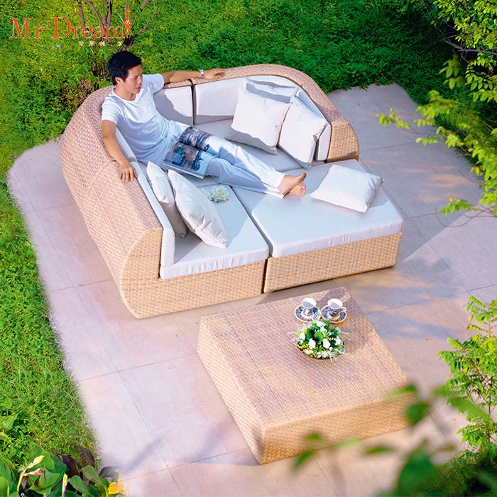 Mr.Dream weather resistant leisure l shaped sofa lounge set rattan garden furniture set