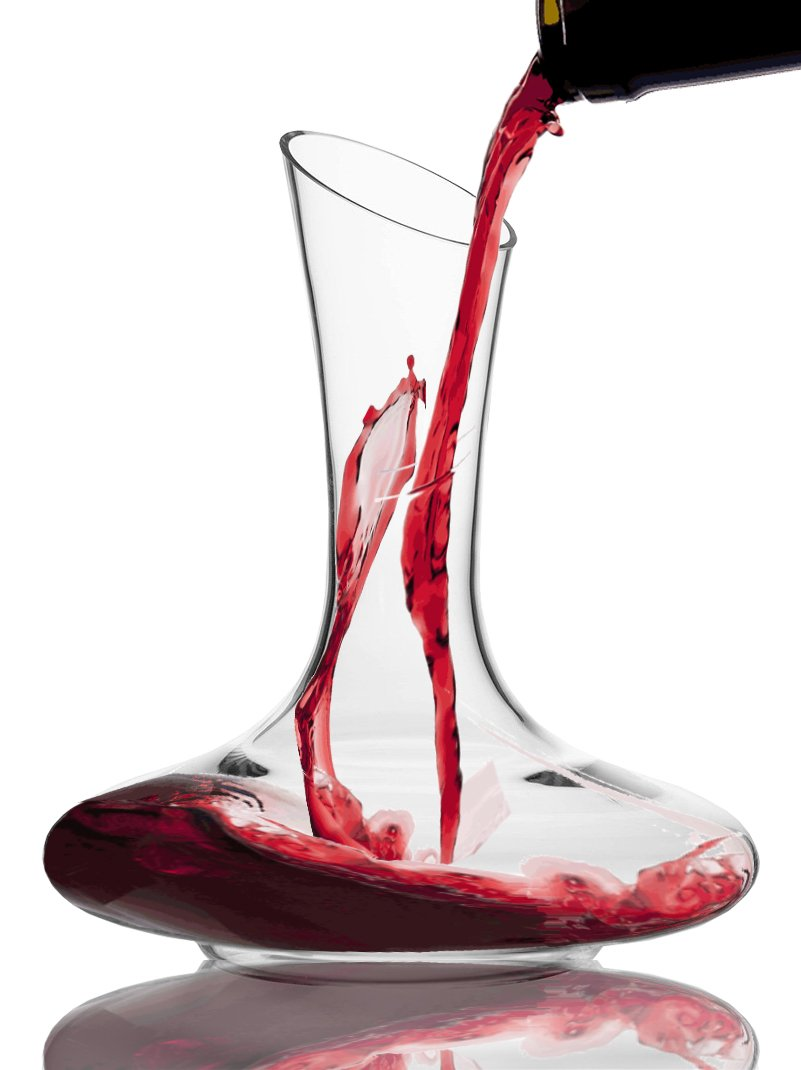 Wine Reveller Lead-Free Crystal Wine Decanter - Hand Blown Sturdy Glass Carafe - Pouring Wine Is Easy - Give To The Wine Lovers In Your Life For Any Occasion