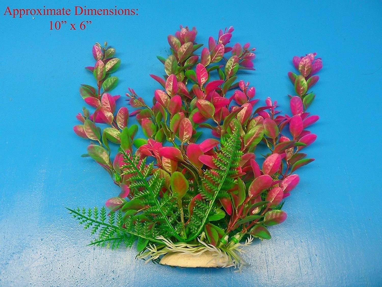 "Azaina_atl AQUARIUM DECORATION - PLASTIC PLANT W HEAVY BASE 94255 10"" H x 6"""