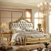European style bedroom furniture classical bed with leather