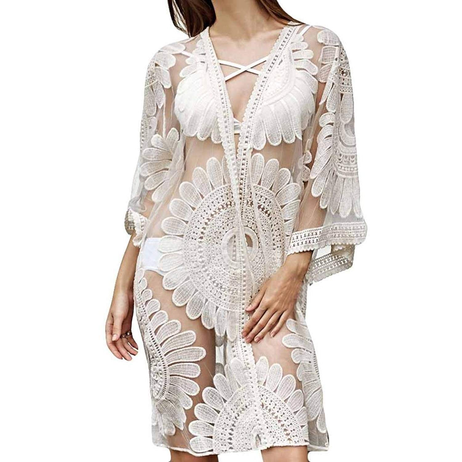 RNTop® Women Smock, Women White Floral Smock Bikini Cardigan Cover up Smock Dress Swimsuit Swimwear Smock Cover up