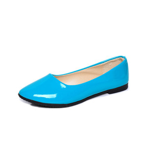 Good Price Lady Soft Comfortable Pu Blue Flat Loafer Ballerina Shoes