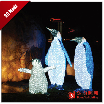 waterproof outdoor christmas decoration 3d motif led light penguin