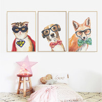 Cool Dog Cat Fox Animals Poster Printings Canvas Paintings Nordic Wall Art Pictures Drop Shipping
