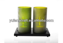 double cylinder glass candle holder with wood base