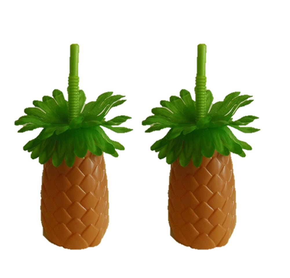 Plastic Luau Palm Tree-Shaped Cups with Straws, 12 oz. (2-Pack)