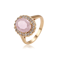 15076 xuping fashion beauty pink ice stone environmental copper finger ring for women