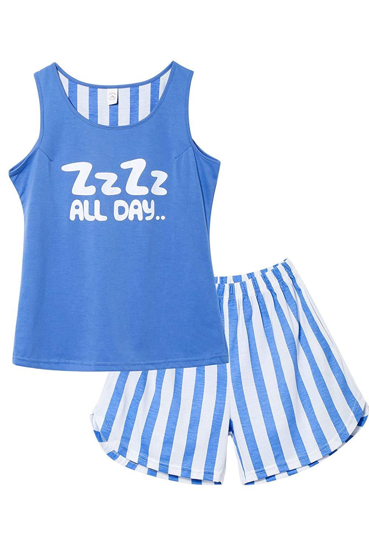 8d94a1ea85b Tween Girls Summer Cotton Pajama Set Tank   Shorts Sleepwear Nighty for  Teens Big Girls Size