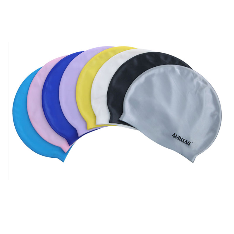 Custom printed logo unique latex korea 48g college logo swim caps