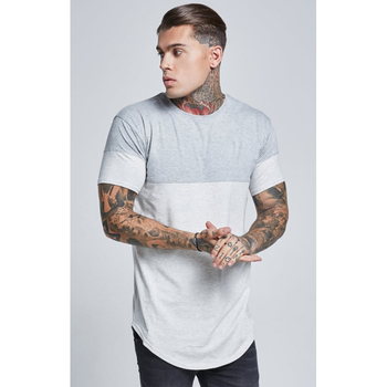 MS-2116 Cut And Sew Snow Marl and Grey Design Contrast Grey Sleeve Cuff T Shirt