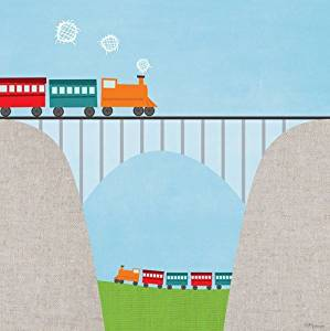 Oopsy Daisy Fine Art for Kids Railroad Bridge Stretched Canvas Art by Vicky Barone 10 by 10-Inch by Oopsy Daisy