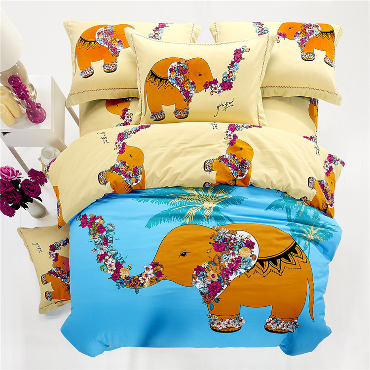 elephant bedding sets king queen size cartoon quilt duvet cover kids bed in a bag sheets. Black Bedroom Furniture Sets. Home Design Ideas