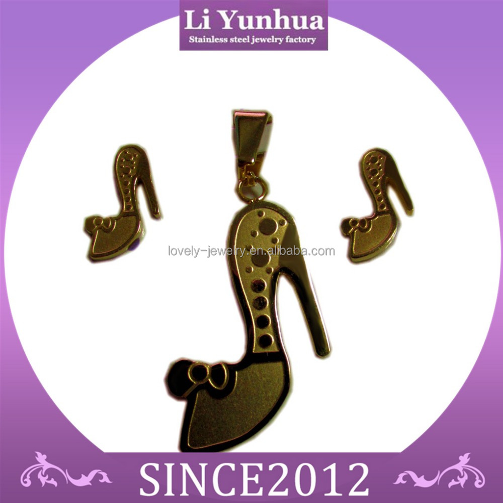 Fashion jewelry customized stainless steel jewelry sets dragonfly pendant and earrings