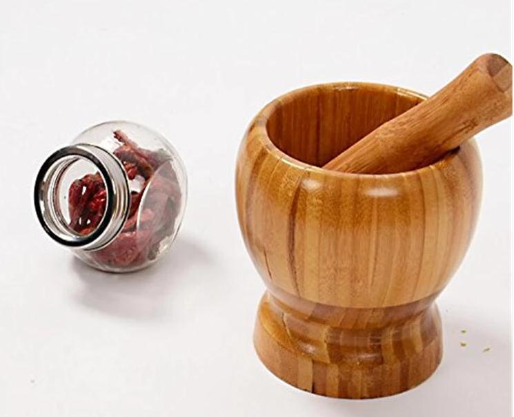 Factory Direct Sell Eco-Friendly Custom Bamboo Mortar And Pestle 7