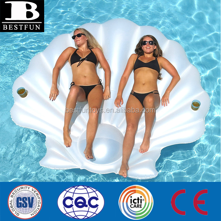 heavy duty vinyl giant inflatable seashell island durable plastic blow up seashell lounge pool float raft mattress for adults