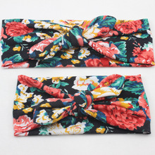 Wide cotton floral infant baby headbands with bowknot for parent-child set