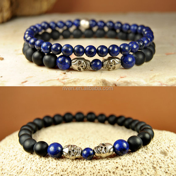 mens beaded gemstone matte set lazuli lapis detail product bracelets onyx natural stone black skull bracelet