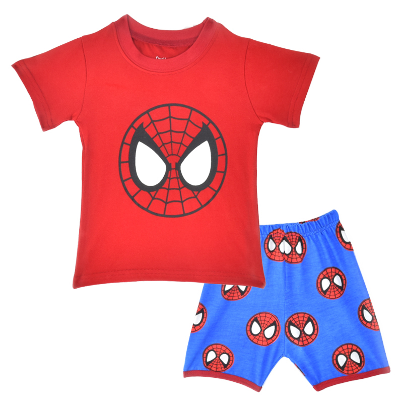 Baby Boys Spider Man Clothes Set Summer Spiderman Children T-shirt+Short Pants Pajamas Sets Toddler Boy Casual Clothing Suits