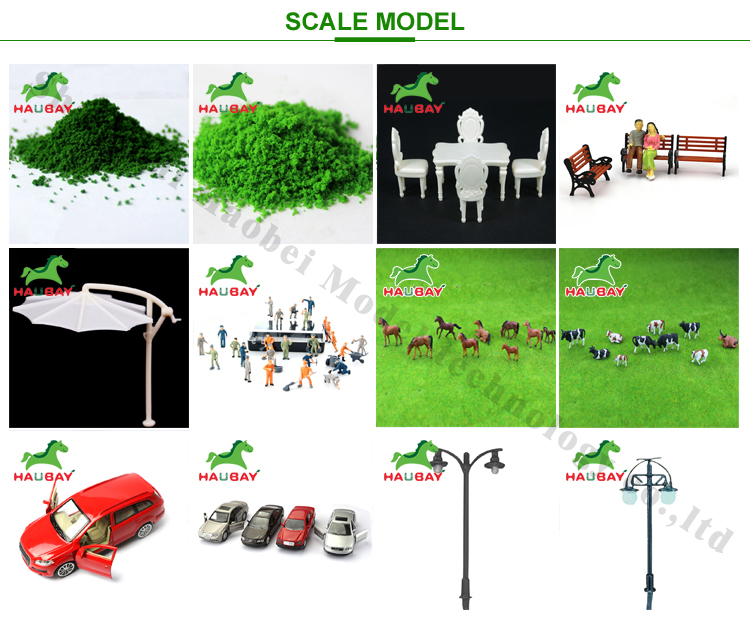 Scale models, scale miniature tree, car, lamp and figure model for scale Landscape layout