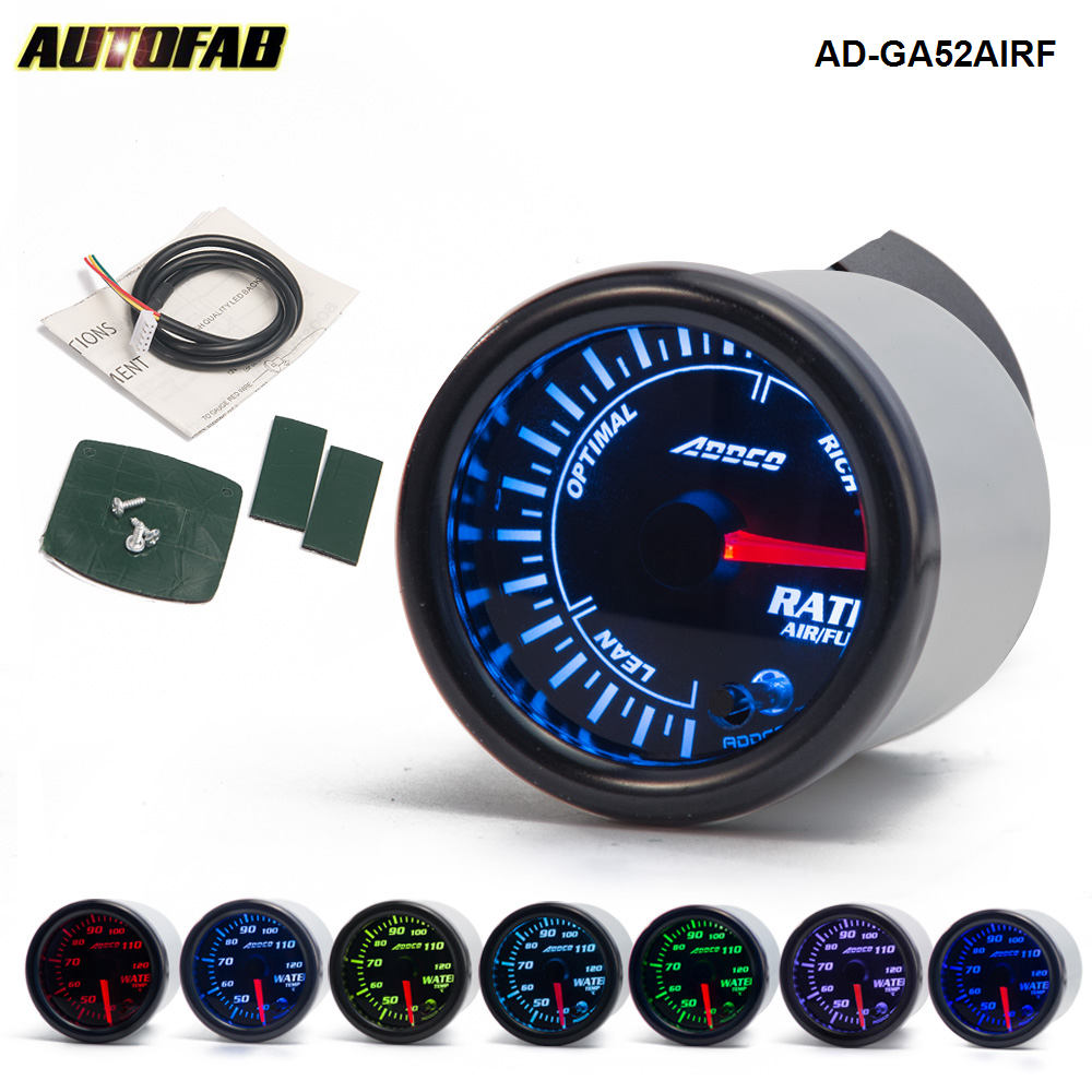 "AUTOFAB - AUTO 2"" 52mm 7 Color LED Smoke Face Car Auto Air Fuel Ratio Gauge Meter With Holder Car meter Gauge AD-GA52AIRF"