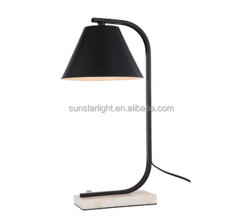 New Design White Marble Base Table Desk Lamp With Line On Off Rocker Switch