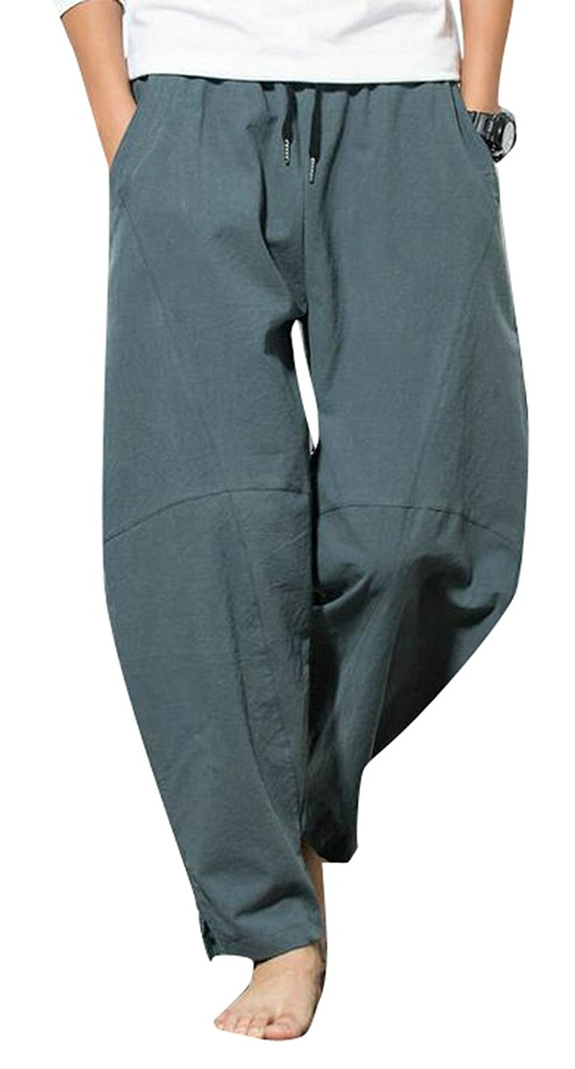 ARTFFEL Men Casual Chinese Style Embroidery Fleece Lined Plus Size Harem Pants
