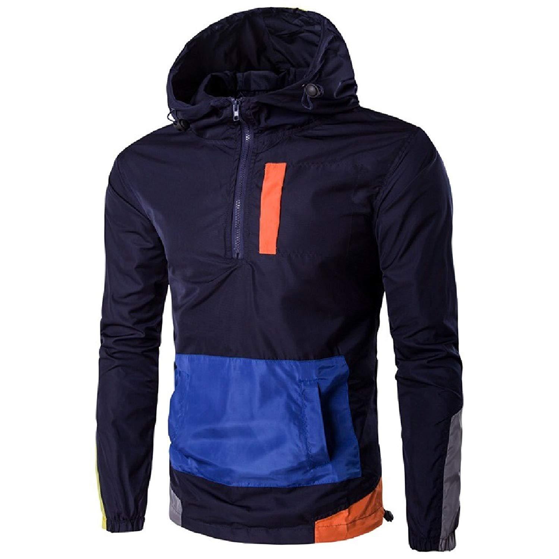Tootless-Men Pullover Leisure Windproof Hood Windbreaker Trench Coat