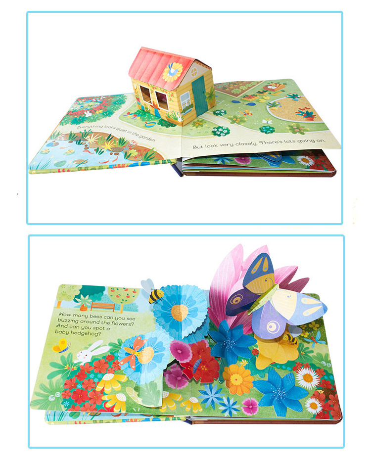 children hardcover cardboard board pop-up book printing